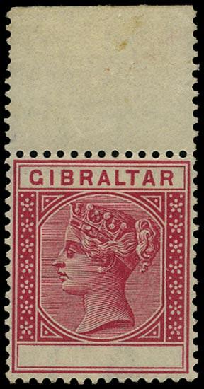GIBRALTAR 1889  SG23b Mint QV 10c carmine ERROR VALUE OMITTED