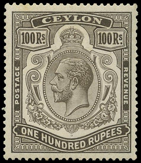 CEYLON 1921  SG359 Mint 100r brownish grey Script watermark