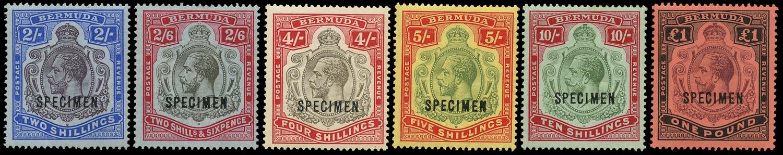 BERMUDA 1918  SG51bs/55s Specimen set of 6 to £1 watermark MCA