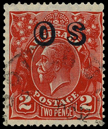 AUSTRALIA 1932  SGO125w Official 2d golden scarlet die III small multiple watermark variety WATERMARK INVERTED