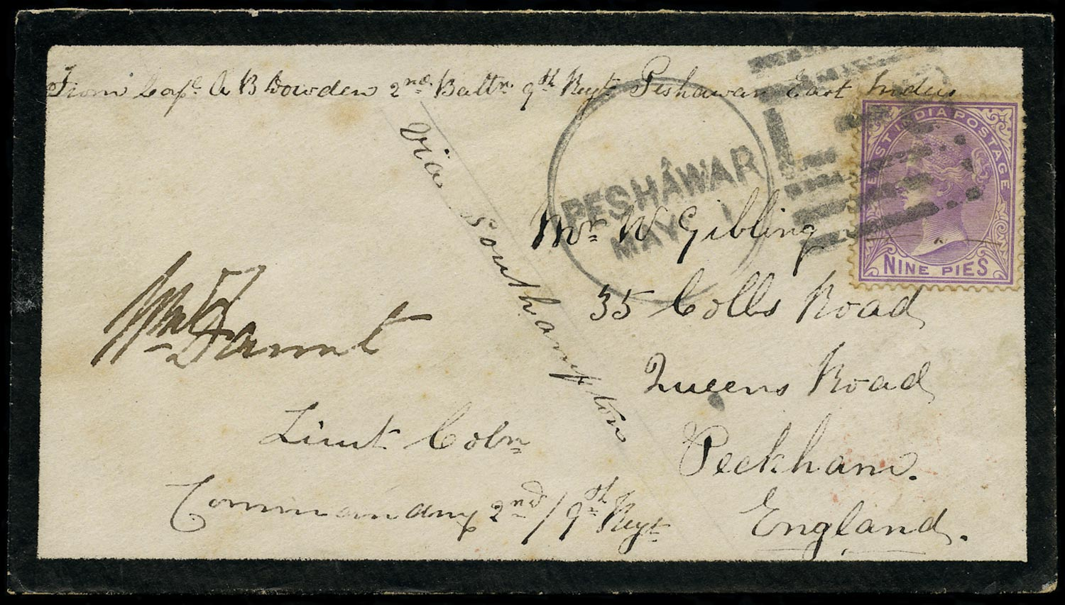 INDIA 1878  SG77 Cover from Peshawar to England franked at 9p concessionary rate
