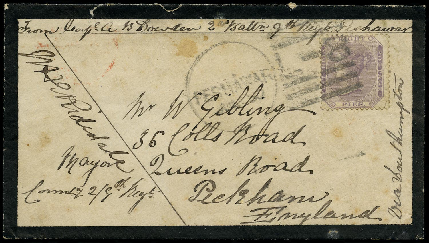 INDIA 1878  SG56 Cover from Peshawar to England franked at 8p concessionary rate