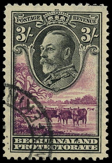 BECHUANALAND 1932  SG108 Used KGV 3s black and purple