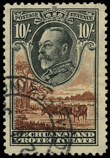 BECHUANALAND 1932  SG110 Used KGV 10s black and brown