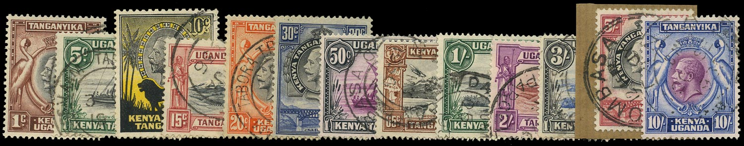 KUT 1935  SG110/22 Used KGV short set to 10s with postmark interest