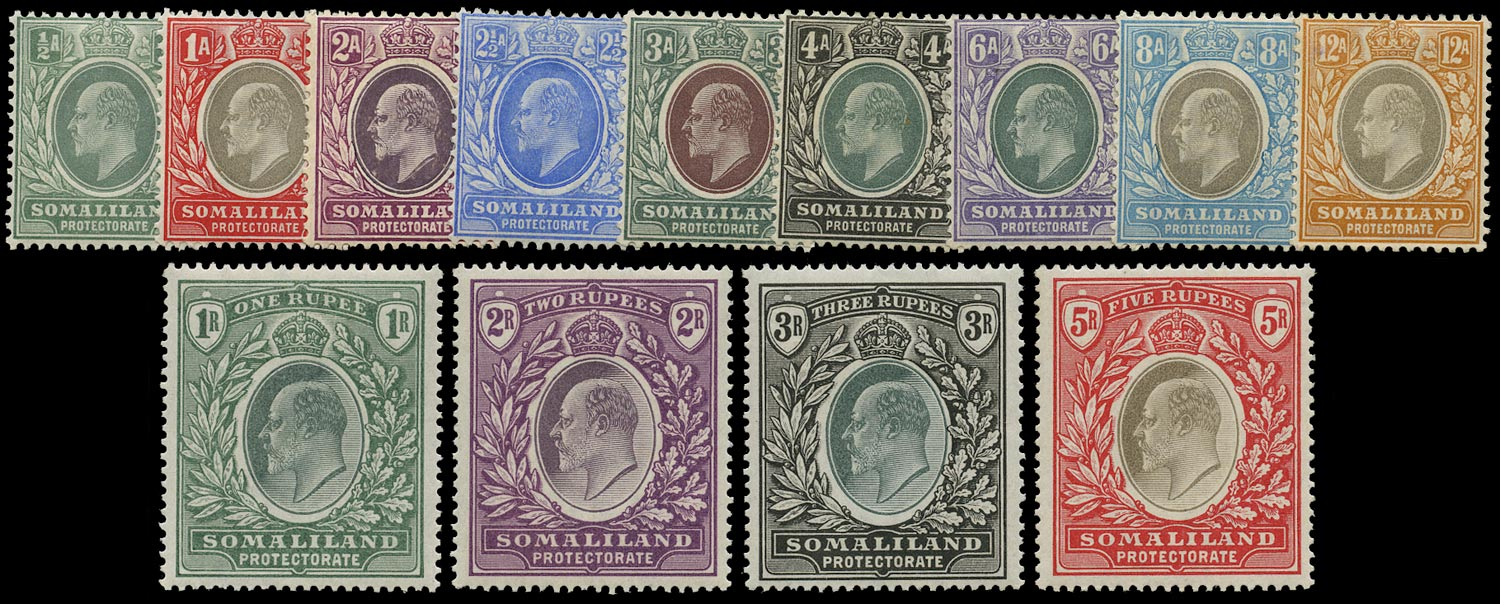 SOMALILAND PROTECT 1904  SG32/44 Mint KEVII set of 13 to 5r watermark CA and CC