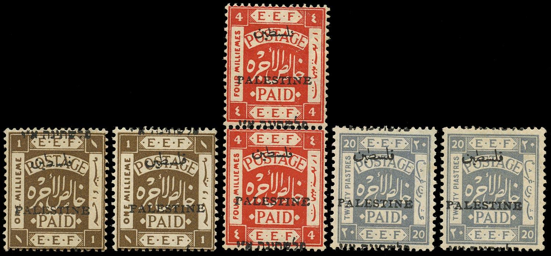 PALESTINE 1920  SG16, 19, 26vars Mint