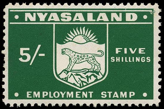 NYASALAND 1962 Revenue Employment 5s green