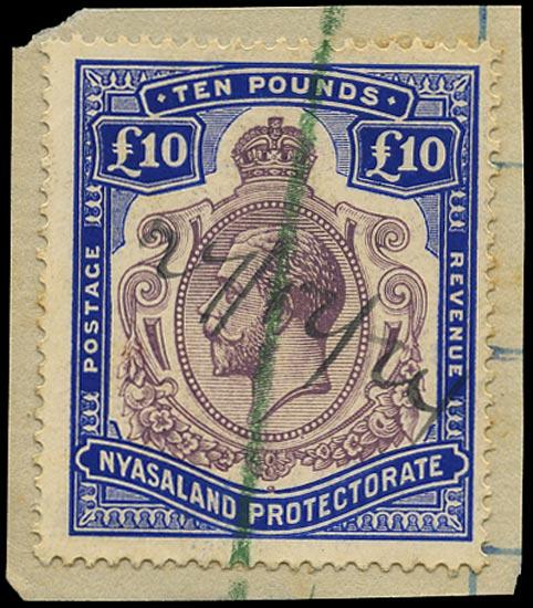 NYASALAND 1919  SG99e Revenue £10 purple and royal blue
