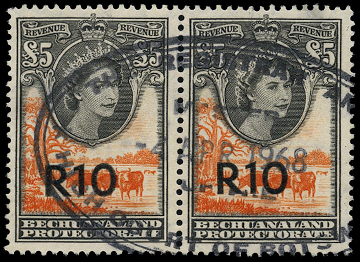 BECHUANALAND 1961 Revenue 'R10' on £5 orange-red used