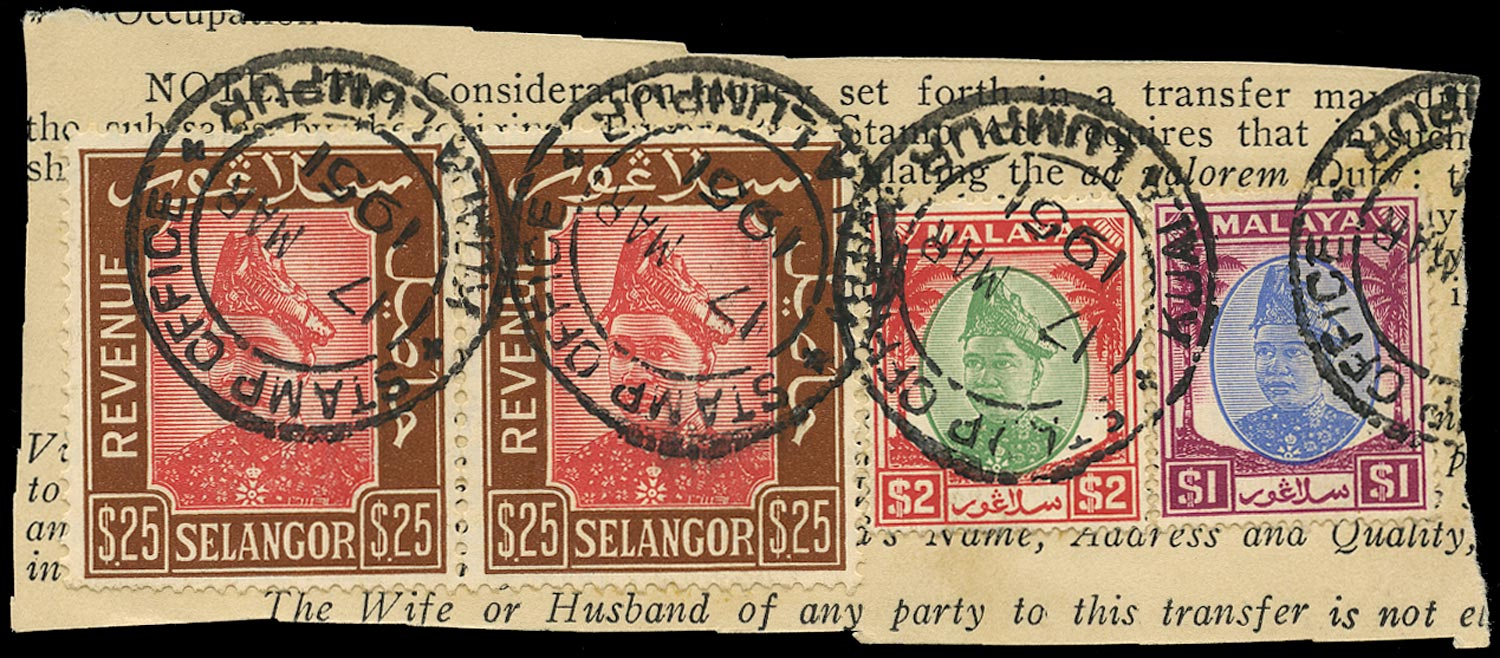 MALAYA - SELANGOR 1950  SG25, 26 Revenue $25 red & brown pair used on piece