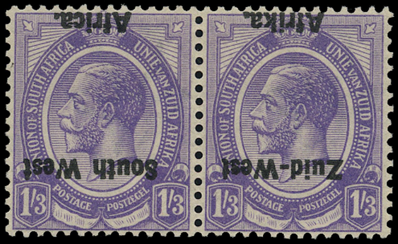 SOUTH WEST AFRICA 1923  SG8a Mint KGV 1s3d pale violet error overprint inverted