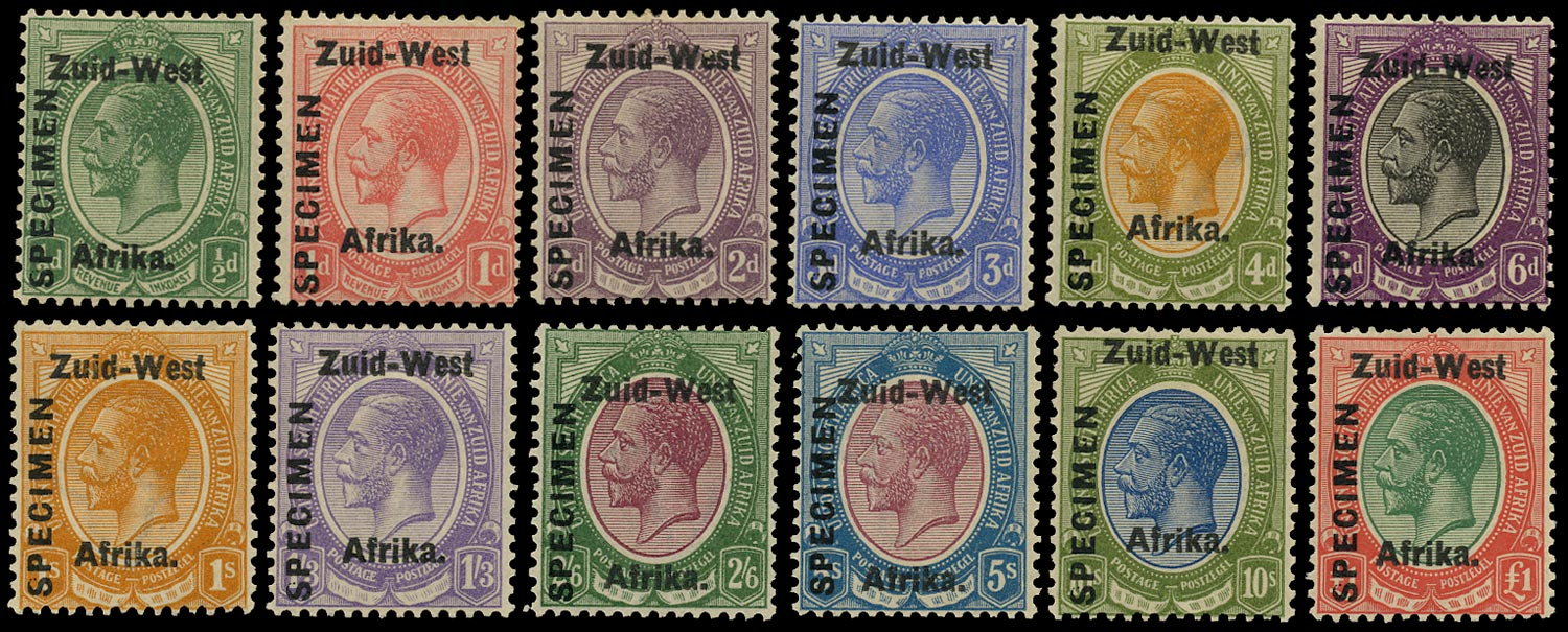 SOUTH WEST AFRICA 1923  SG1s/12s Specimen KGV set of 12 to £1
