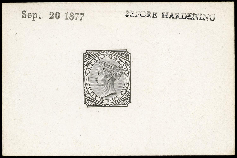 NATAL 1877  SG69 Proof QV 4d die proof in black stamped Before Hardening