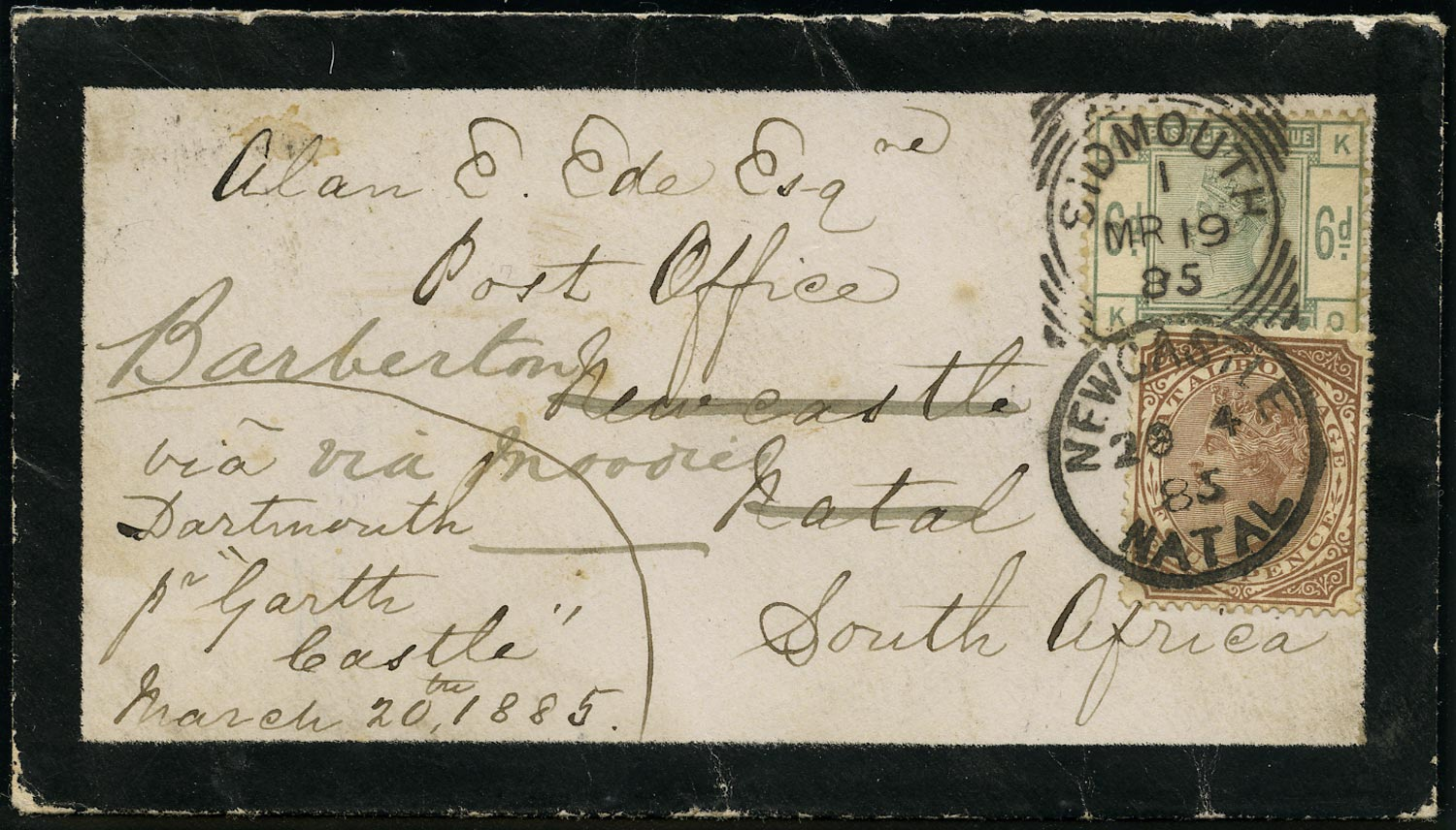 NATAL 1885  SG102 Cover incoming from England redirected to Transvaal