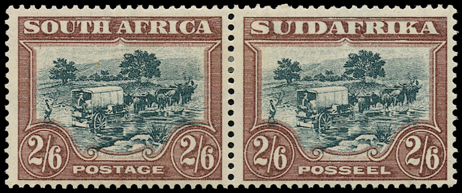 SOUTH AFRICA 1930  SG49 Mint 2s6d green and brown Ox-wagon watermark upright