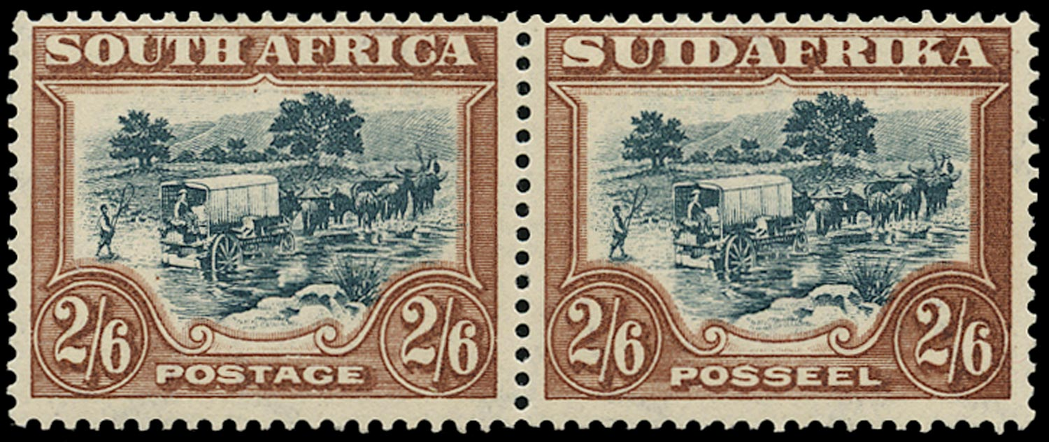 SOUTH AFRICA 1930  SG49aw Mint 2s6d green and brown Ox-wagon watermark inverted