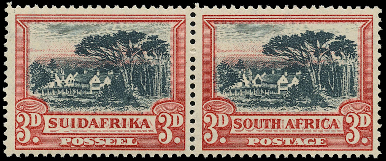 SOUTH AFRICA 1930  SG45b Mint unmounted 3d black and red with Window flaw and watermark upright