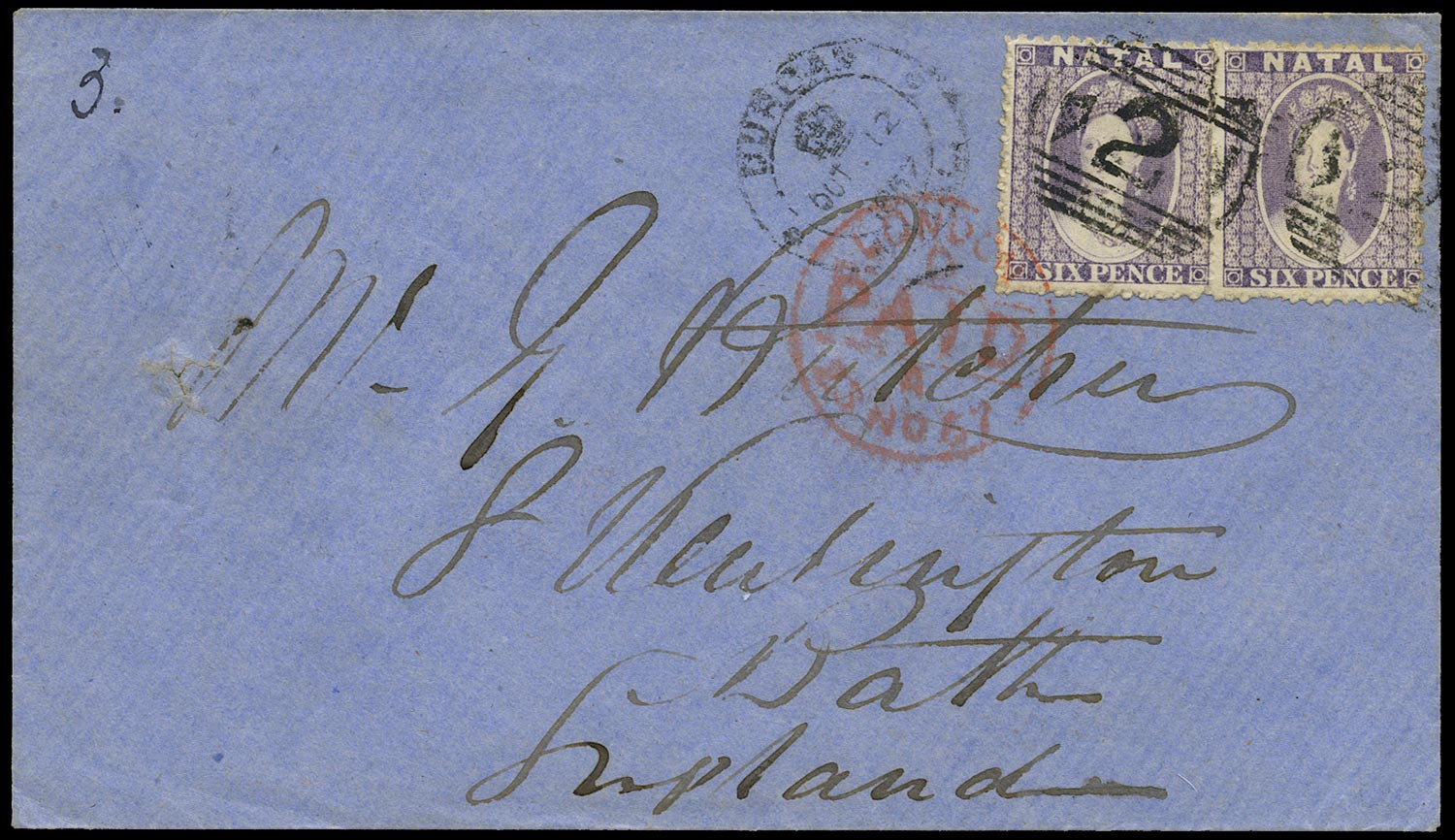 NATAL 1865  SG23 Cover from Durban to England franked at 1s packet rate