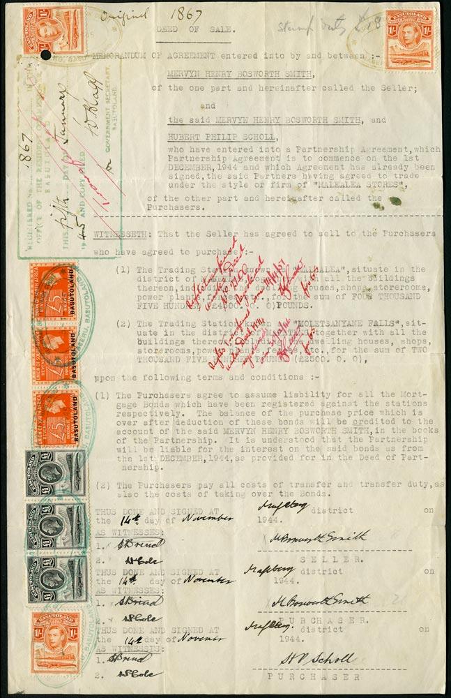 BASUTOLAND 1945 Revenue KGVI £5 orange opt on South Africa