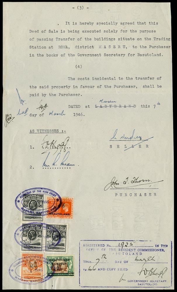 BASUTOLAND 1946 Revenue KGVI £5 orange opt on South Africa