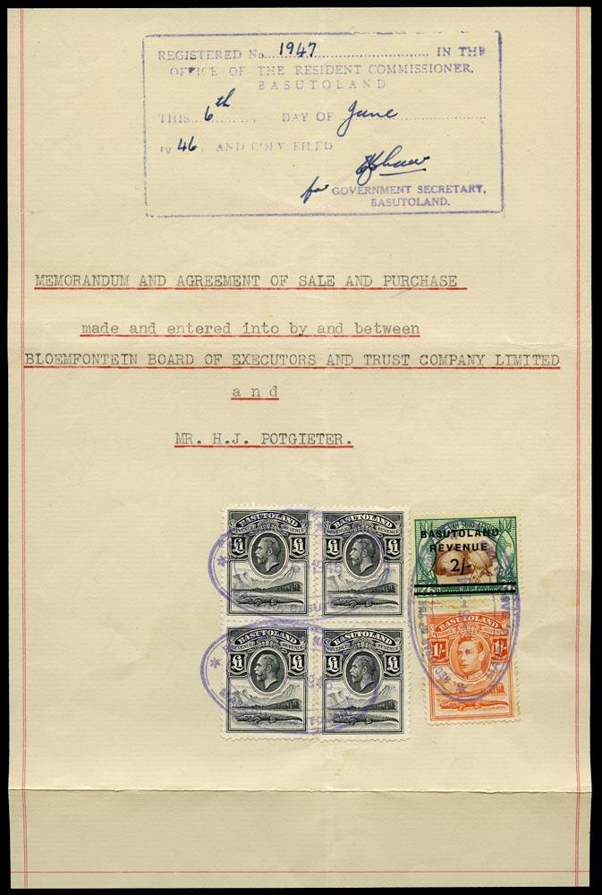 BASUTOLAND 1947 Revenue document page with KGV £1 black x4