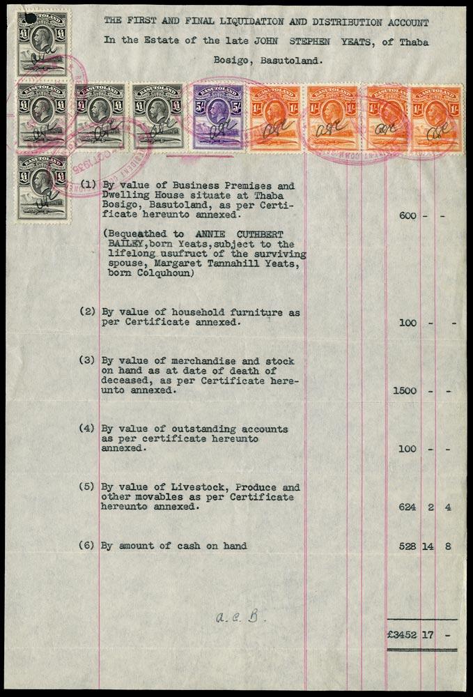 BASUTOLAND 1935 Revenue document bearing KGV £1 black x5