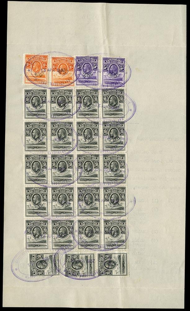 BASUTOLAND 1937 Revenue document bearing KGV £1 black BLOCK OF 20
