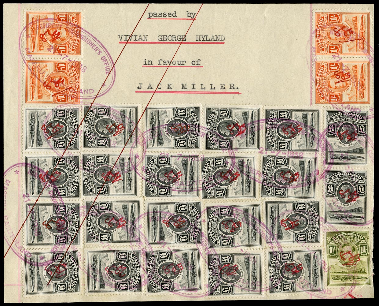 BASUTOLAND 1938 Revenue piece bearing KGV £1 black x22