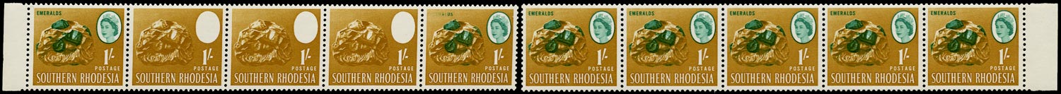 SOUTHERN RHODESIA 1964  SG99a Mint unmounted QEII 1s Emeralds ERROR BLUE-GREEN OMITTED on three stamps