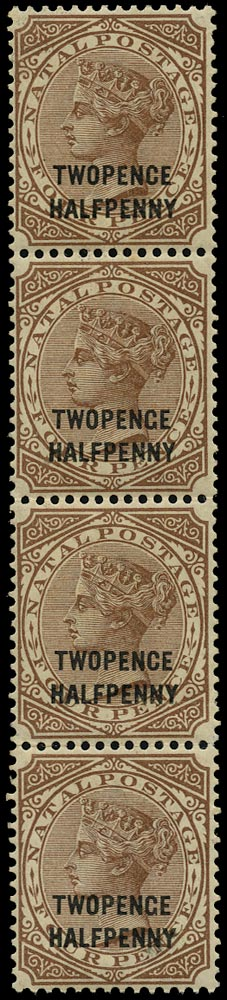 NATAL 1891  SG109a Mint 2½d on 4d brown variety TWOPENGE