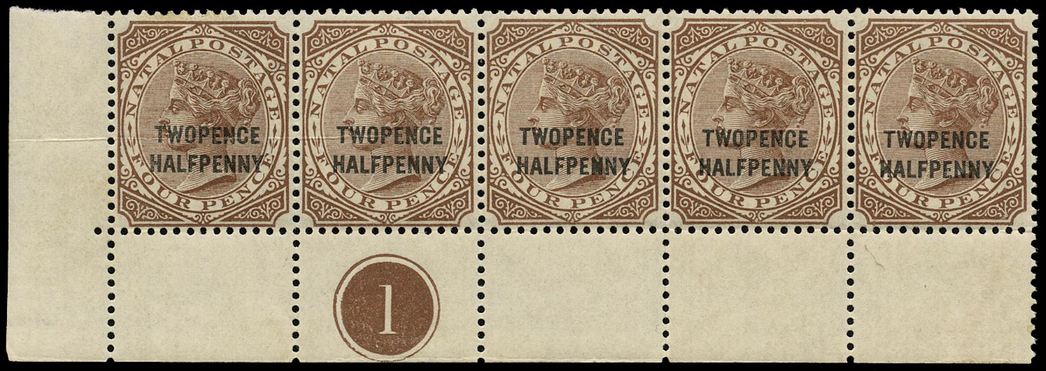 NATAL 1891  SG109 Mint unmounted 2½d on 4d brown