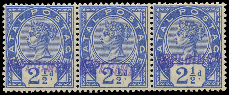 NATAL 1891  SG113s Specimen 2½d bright blue strip of 3 unmounted