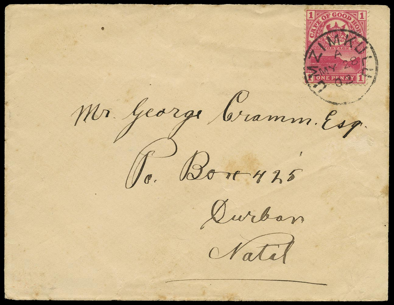 CAPE OF GOOD HOPE 1902  SG69 Cover from Umzimklulu to Durban