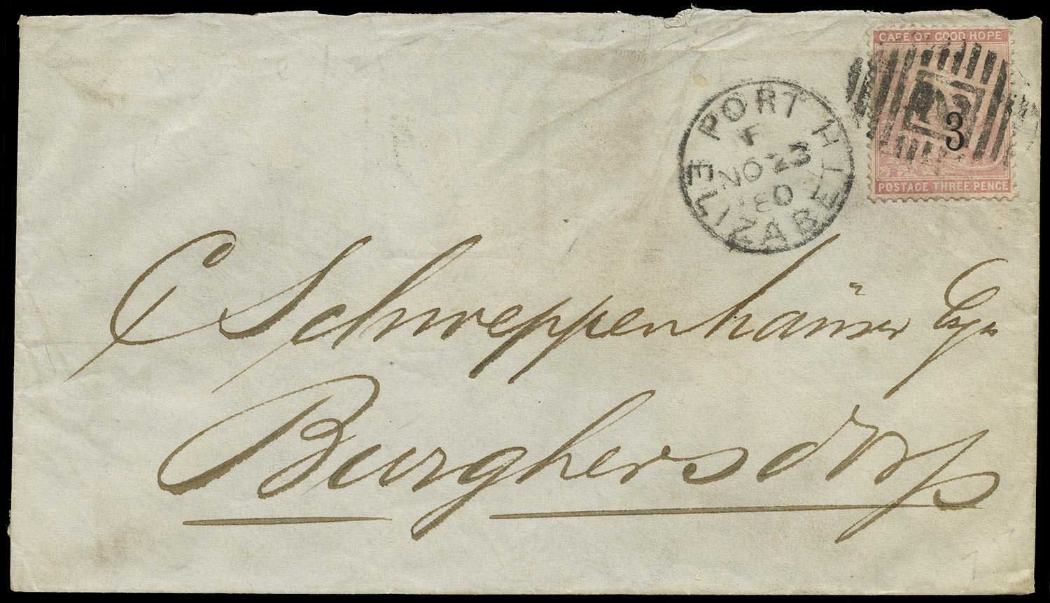 CAPE OF GOOD HOPE 1880  SG38 Cover from Port Elizabeth to Burghersdorp