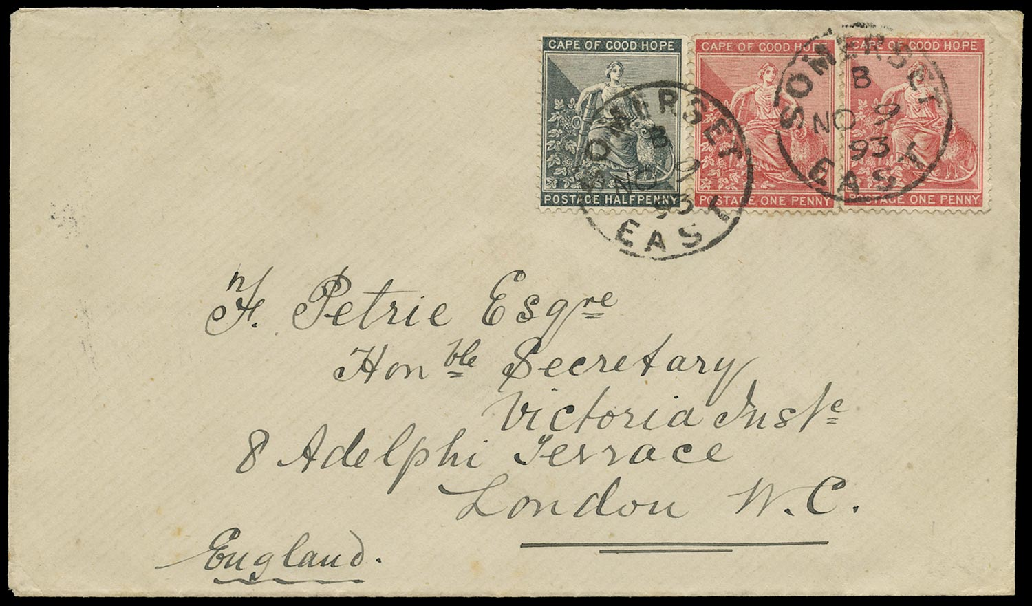 CAPE OF GOOD HOPE 1893  SG48a, 49 Cover from Somerset East to England
