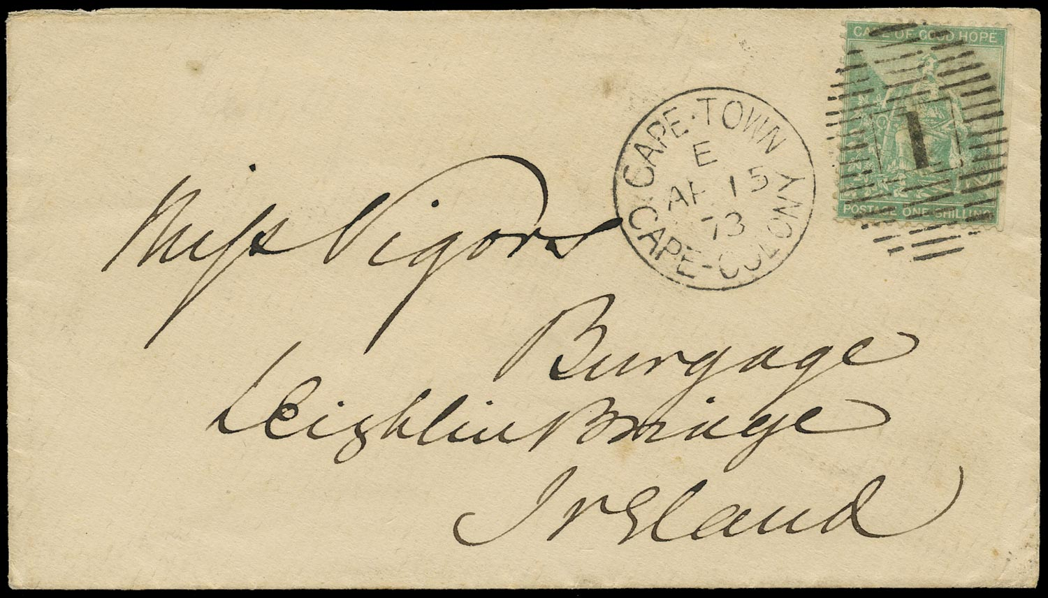 CAPE OF GOOD HOPE 1873  SG26a Cover from Cape Town to Ireland