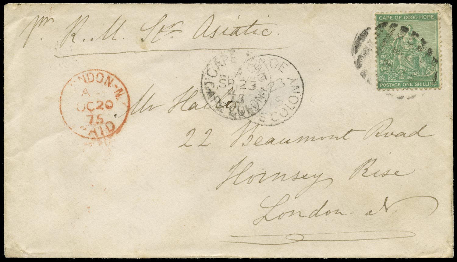 CAPE OF GOOD HOPE 1873  SG26a Cover from George to London