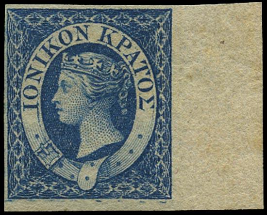 IONIAN ISLANDS 1859  SG2a Mint (1d) blue showing R7/12 Major re-entry