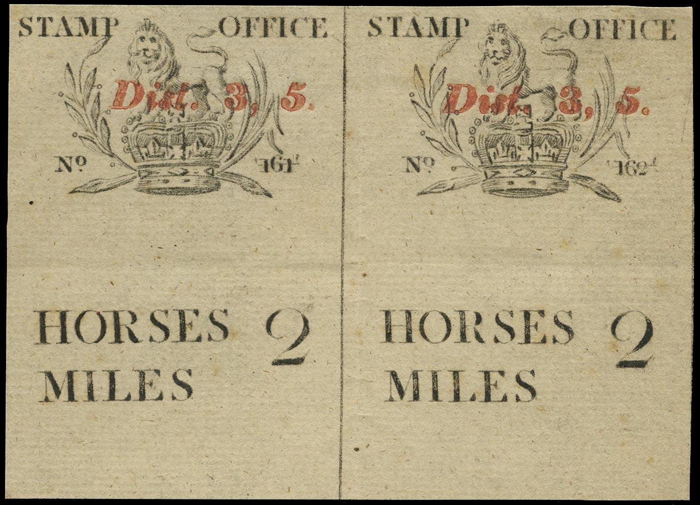 GB 1819 Revenue - Post Horse duty mileage ticket pair.