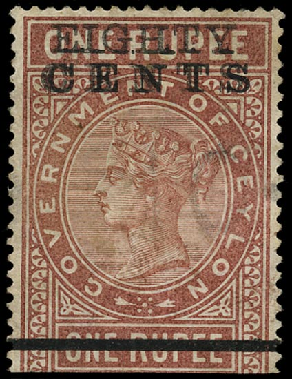 CEYLON 1882  SGT88a Telegraph 80c on 1r red-brown error SURCHARGE DOUBLE used