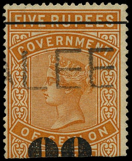 CEYLON 1882  SGT106a Telegraph 80c on 5r orange ERROR 00 FOR 80 used