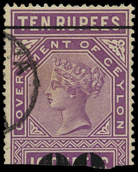 CEYLON 1882  SGT112a Telegraph 80c on 10r reddish purple ERROR 00 FOR 80 used