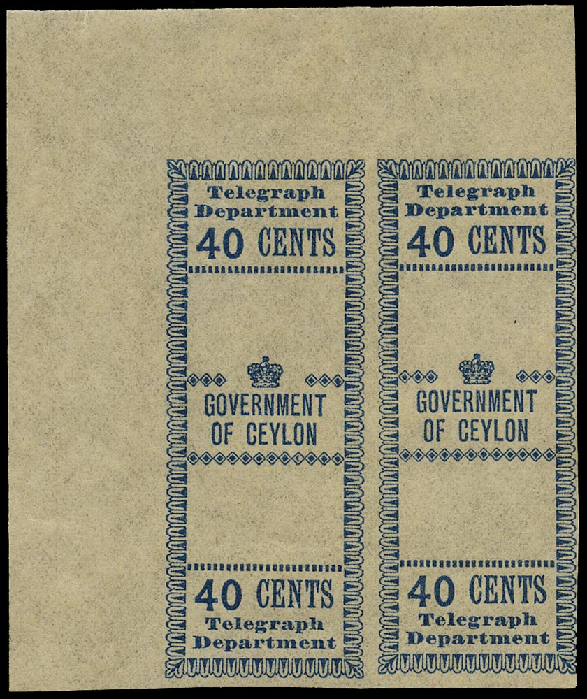 CEYLON 1882  SGT128 Telegraph 40c blue local issue imperforate proof