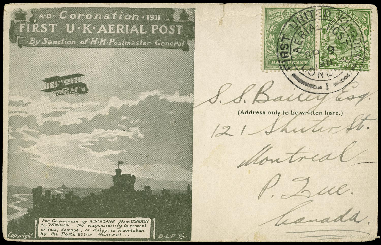 GB 1911  SG268,325 Cover - Ariel Post to Montreal