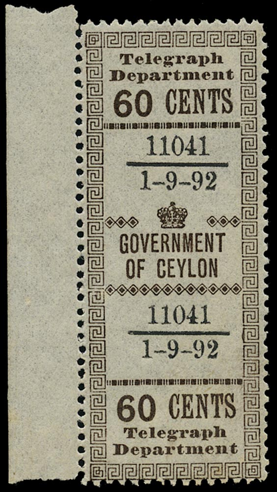 CEYLON 1892  SGT137 Telegraph 60c dark brown mint