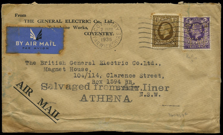 GB 1936  SG444,449 Cover - Athena crash cover