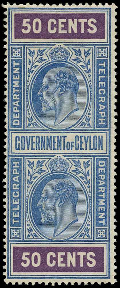 CEYLON 1903  SGT156 Telegraph KEVII 50c blue and purple watermark Crown over CA mint