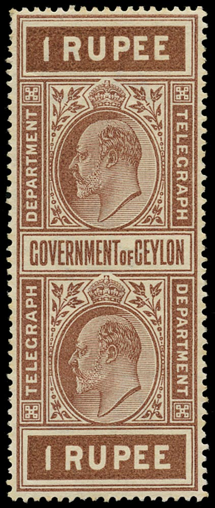 CEYLON 1903  SGT159 Telegraph KEVII 1r red-brown watermark Crown over CA mint