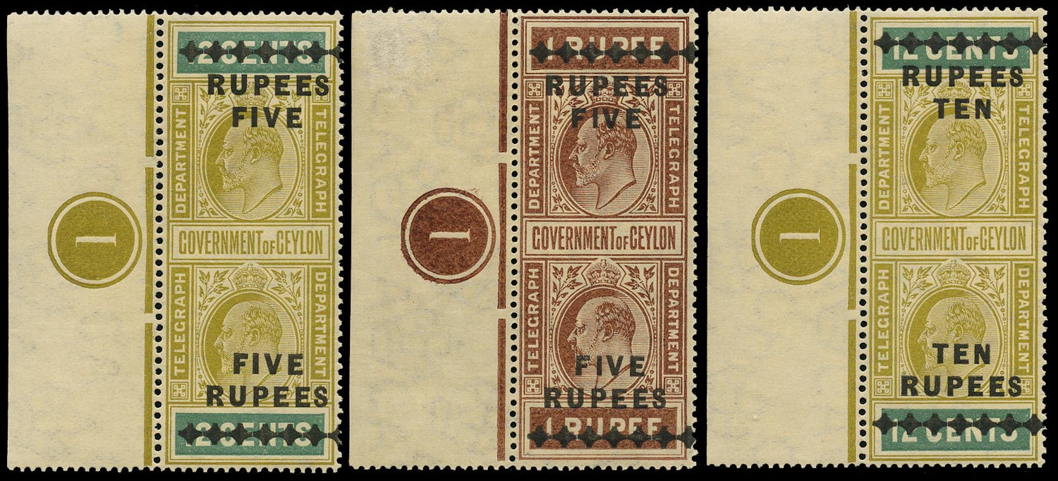 CEYLON 1910  SGT185/87 Telegraph KEVII 5r on 12c, 5r on 1r, 10r on 12c, matching plate number examples